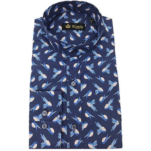 Konig - Cotton Shirt Col Mandarin Oiseaux Bleu