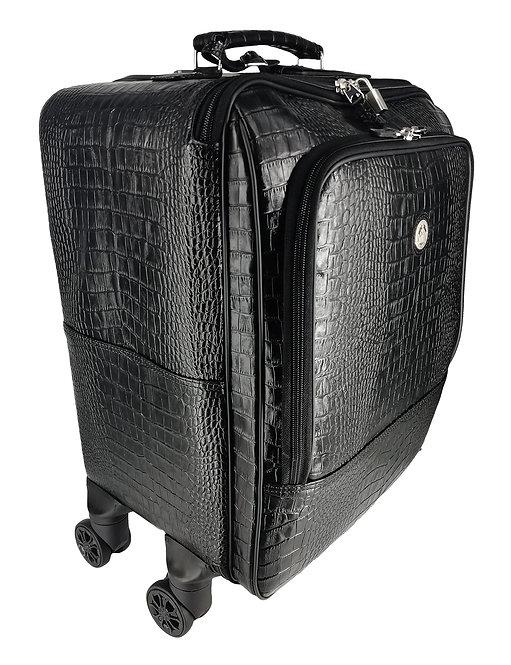 Konig Genève - Leather Trolley Luggage Bag - Aligo Black