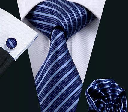 Konig Genève - Ensemble Cravate - Blue & Navy Stripes