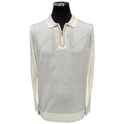 Konig - Wool Polo Sweater Zipped Beige - Polo en Laine