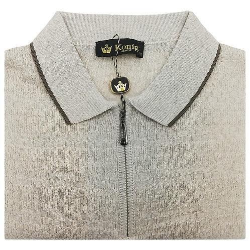 Konig - Wool Polo Sweater Zipped Stone