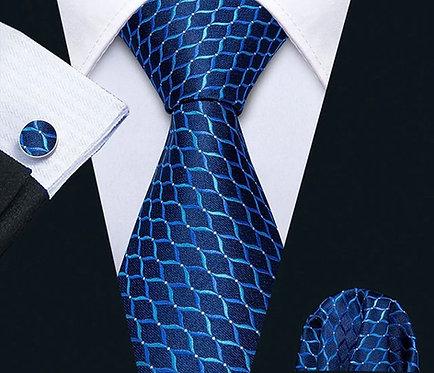 Konig Tie Set - Blue & Turquoise Waves