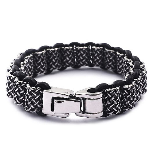Konig - Hot Rolled Steel & Leather Bracelet