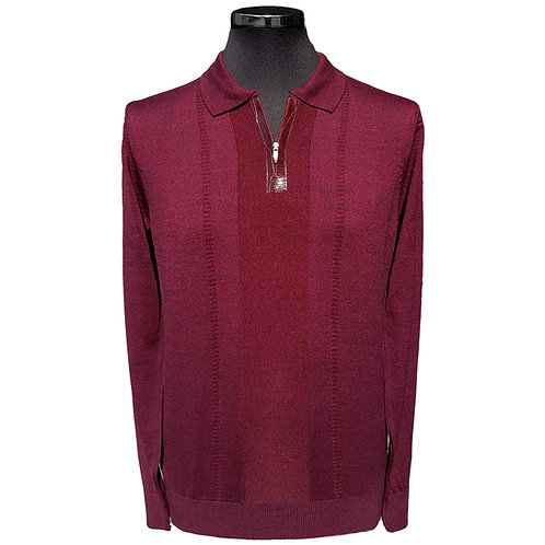 Konig - Wool Polo Sweater Zipped Burgundy - Polo en Laine