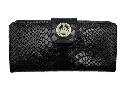 Konig - Women Wallet Black Python - Portefeuille en Cuir pour Femme