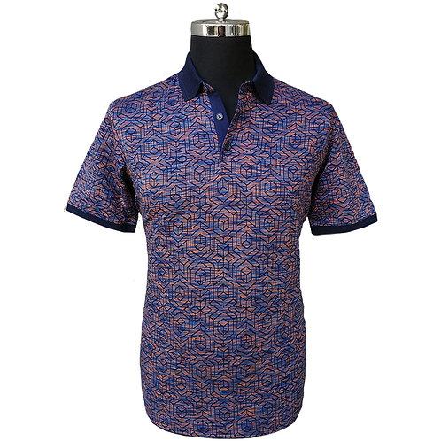 Konig - Abstract Navy Blue & Orange Polo Short Sleeves