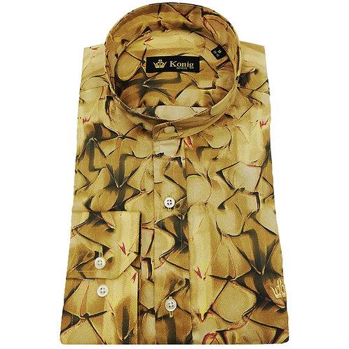 Konig - Cotton Shirt Col Mandarin Gold Abstract