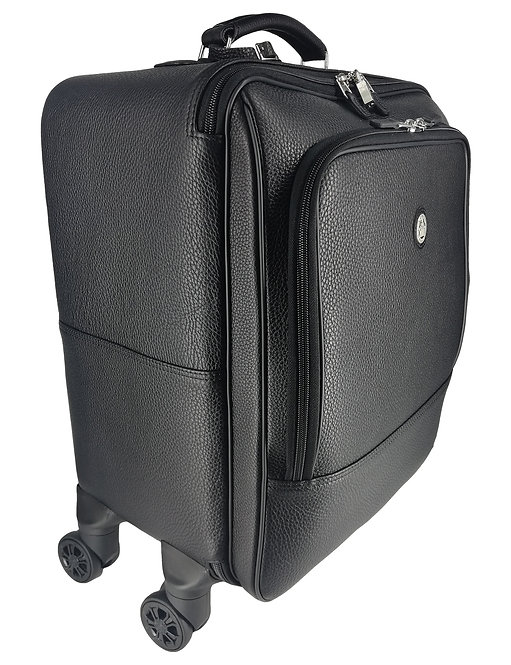 Konig Genève - Leather Trolley Luggage Bag -  Floater Black