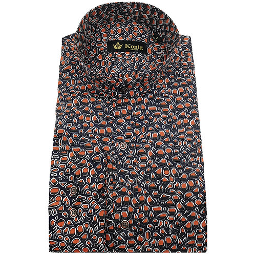 Konig - Cotton Shirt Col Mandarin Reef