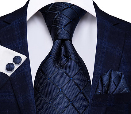 Konig Genève - Ensemble Cravate - Tie Set - Blue Checkers