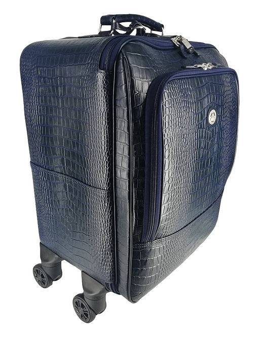 Konig Genève - Leather Trolley Luggage Bag - Aligo Blue