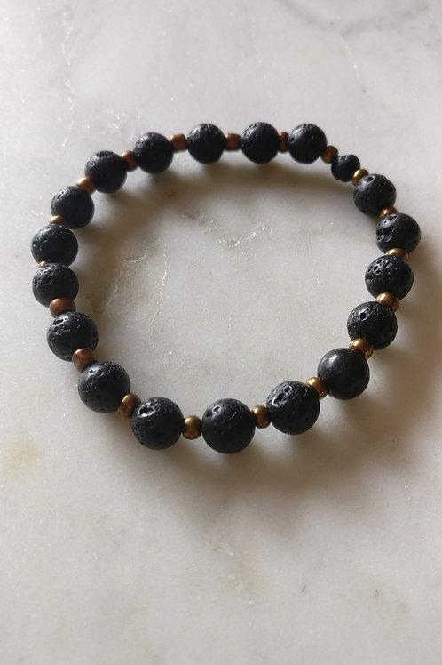 Lava Bead Bracelet + (your choice small bead color)