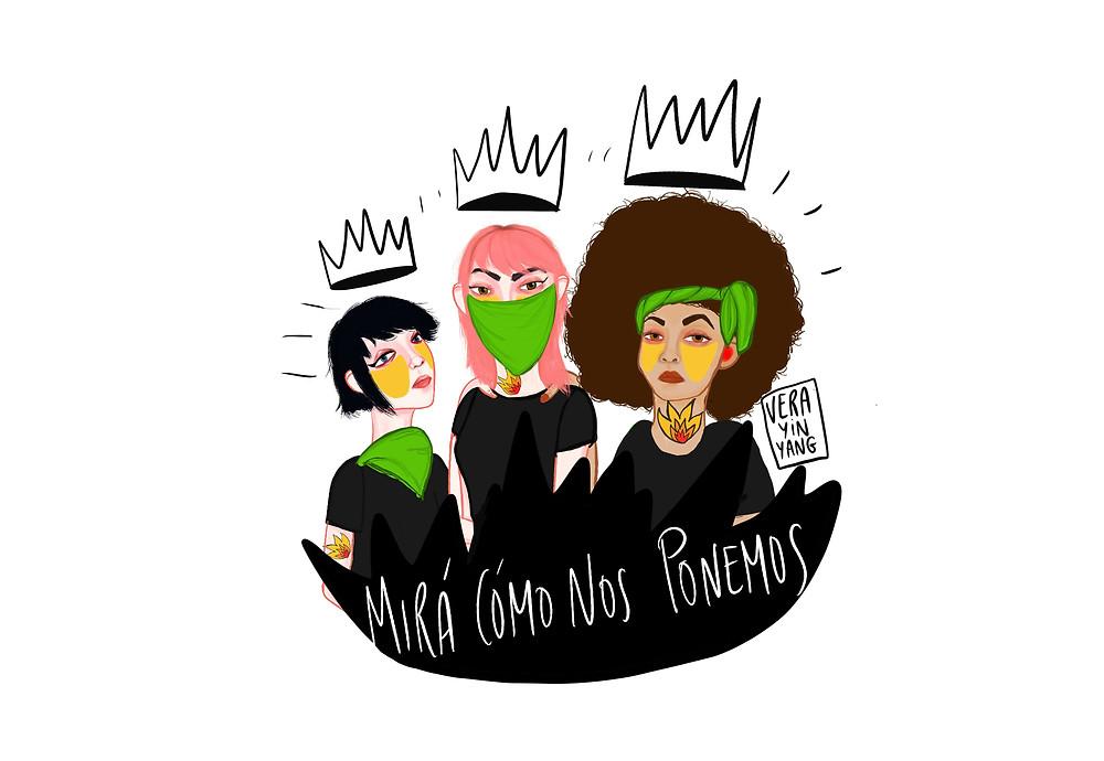 ilustracion mira como nos ponemos , vera yin yang,  feminismo, argentina