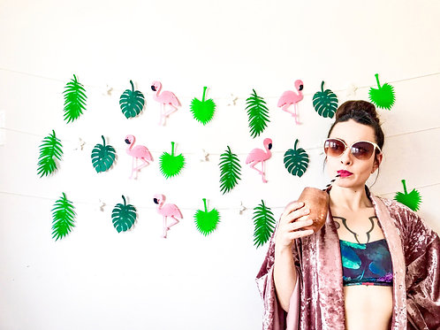 Tropical Palm Frond & Flamingo Banner