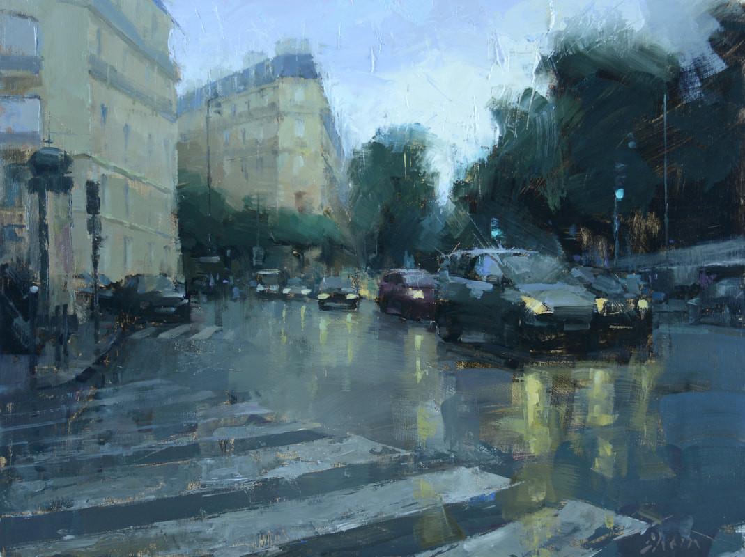 Streets of Paris, Oil on Panel,