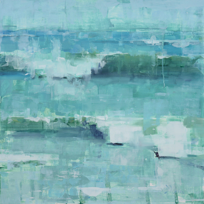 Wave Study in Turquoise, 24x24