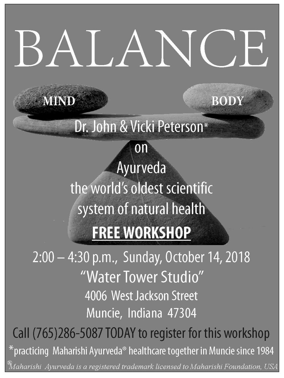 Ayurveda workshop Oct. 14