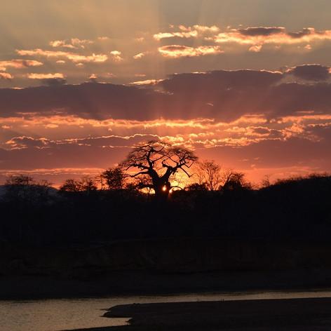 July sunset at Kanyansa Hippo Pool