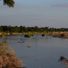 The ancient Luangwa River snakes its way