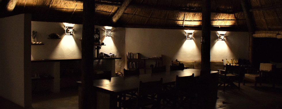Dining area at night before we the candles are brought out