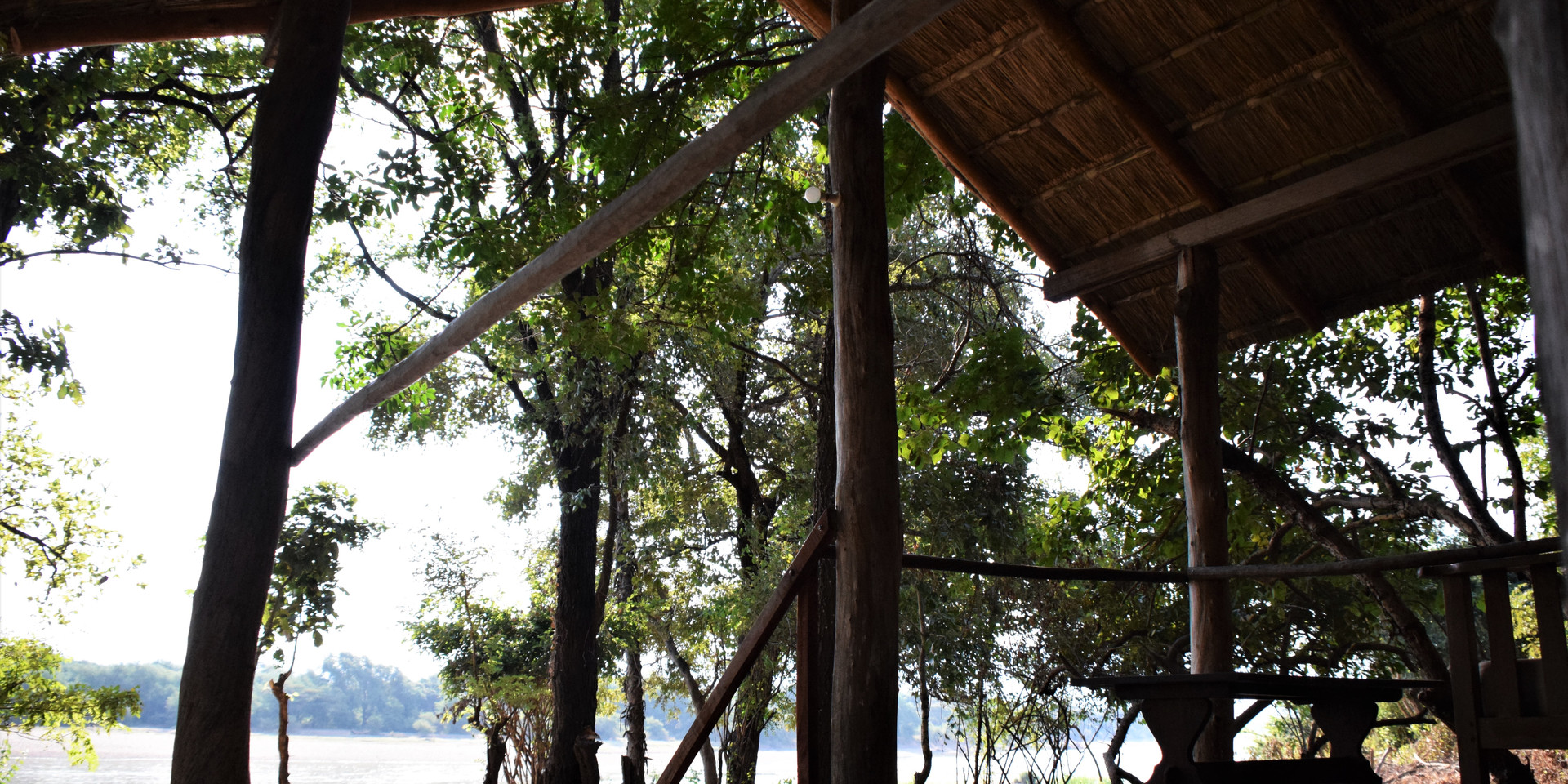 """View from the """"Honeymoon Suite""""/Canvas Chalet verandah over the Luangwa River"""