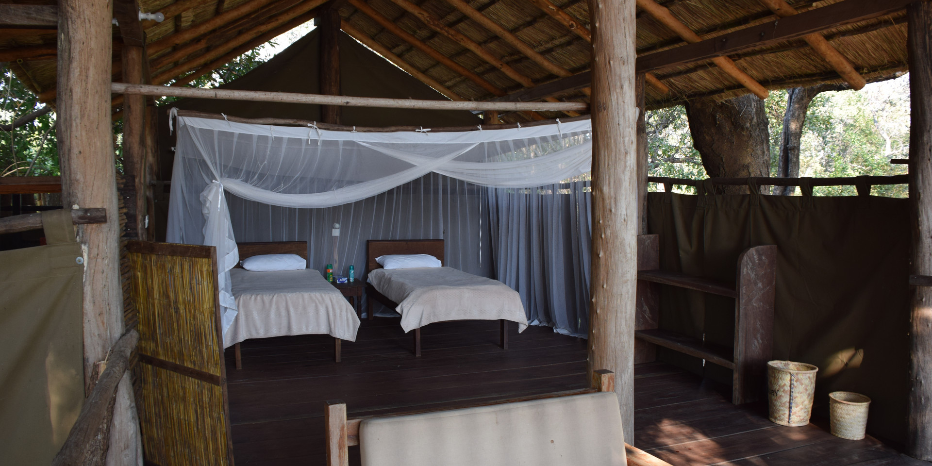 """The """"Honeymoon Suite""""/Canvas Chalet set up with single beds. The king size bed is even better!"""