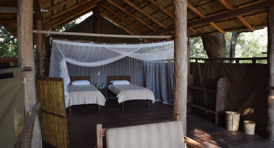 "The ""Honeymoon Suite""/Canvas Chalet set up with single beds. The king size bed is even better!"