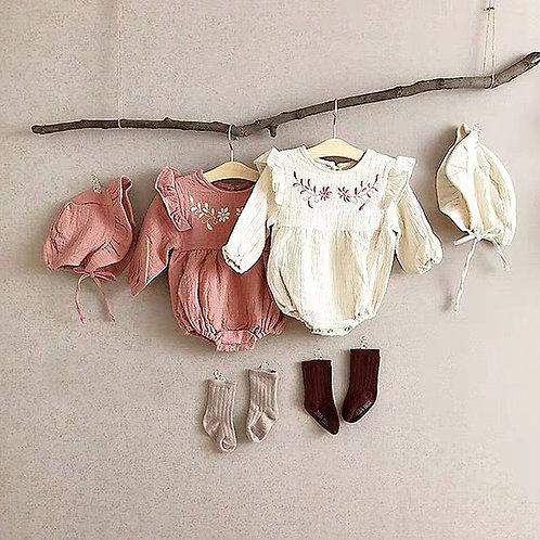 フラワー刺繡ロンパース