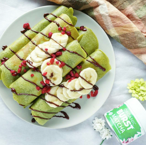 Vegan Matcha Crepes with dairy-free chocolate drizzle