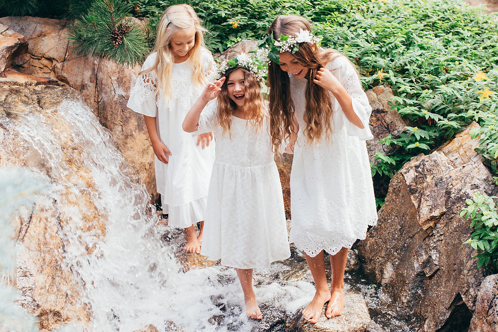 Three girls wearing LDS Baptism Dresses