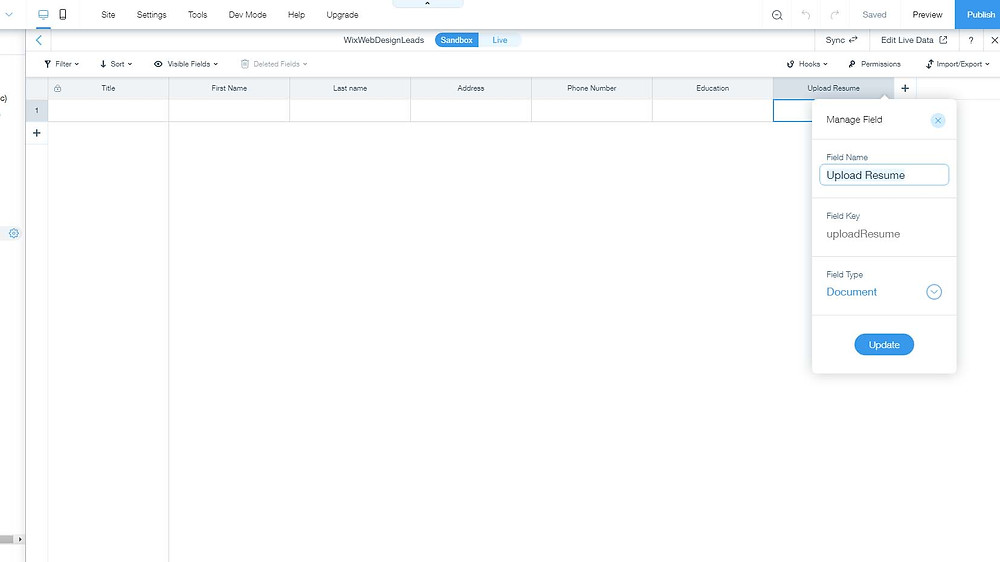 Wix Sandbox Database