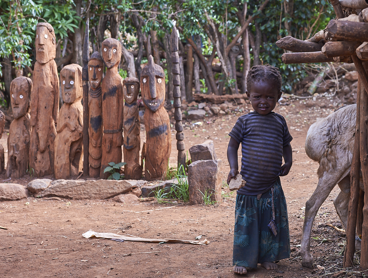 Konso girl with family totems