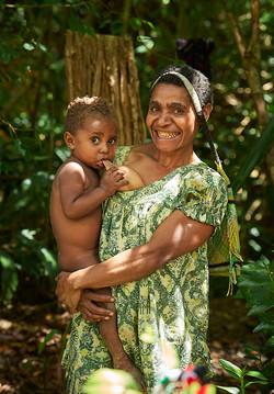 Mother breast feeding, Chimbu