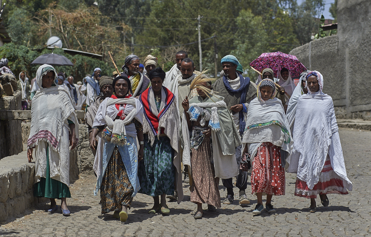 People attending a funeral, Lalibela