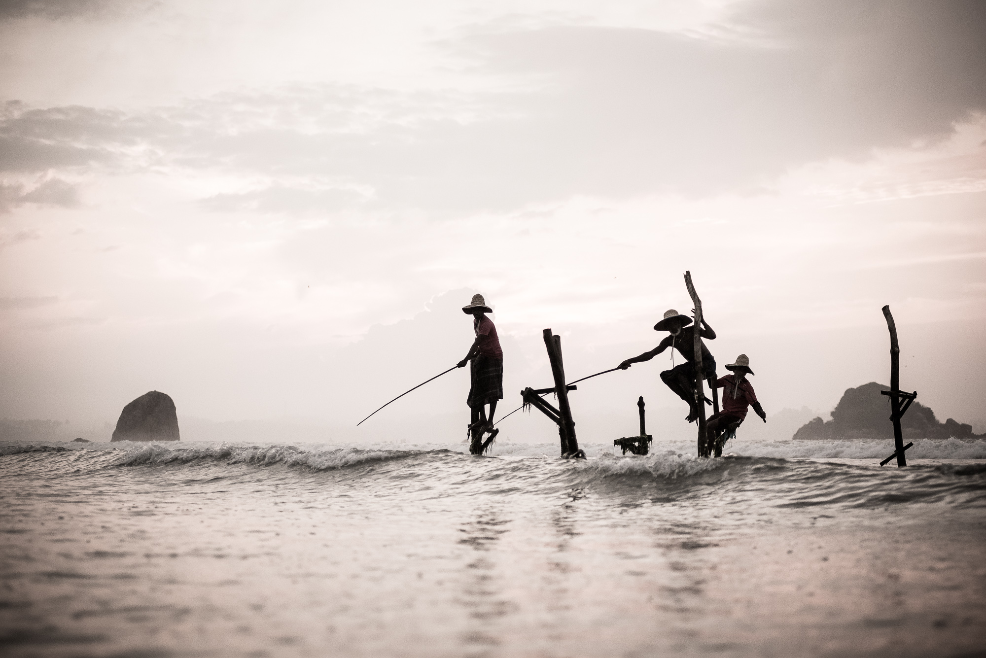 Stilt fishermen, Weligama beach