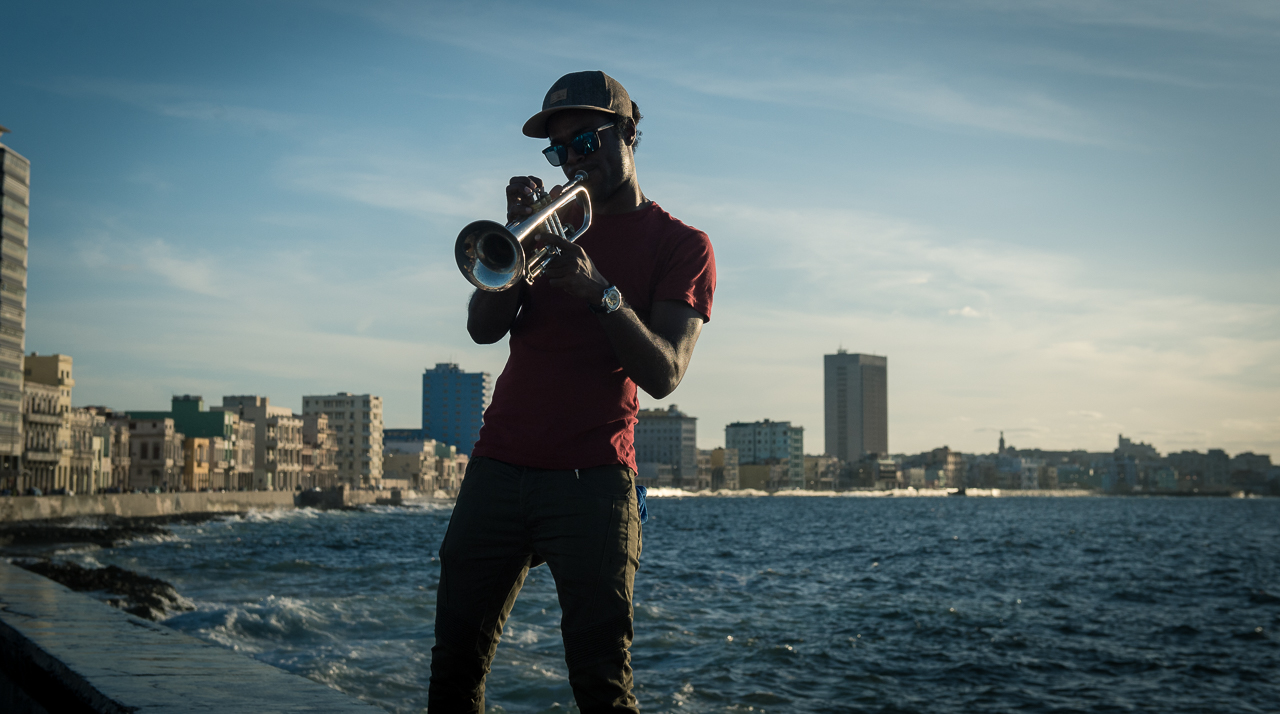 Trumpet player in Malecon, Havana