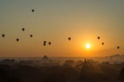 Ballons over Bagan at sunrise