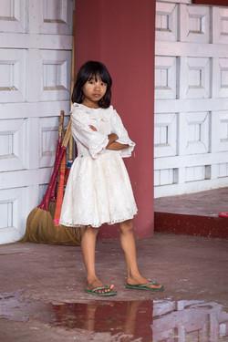 Cleaning girl, Mandalay palace