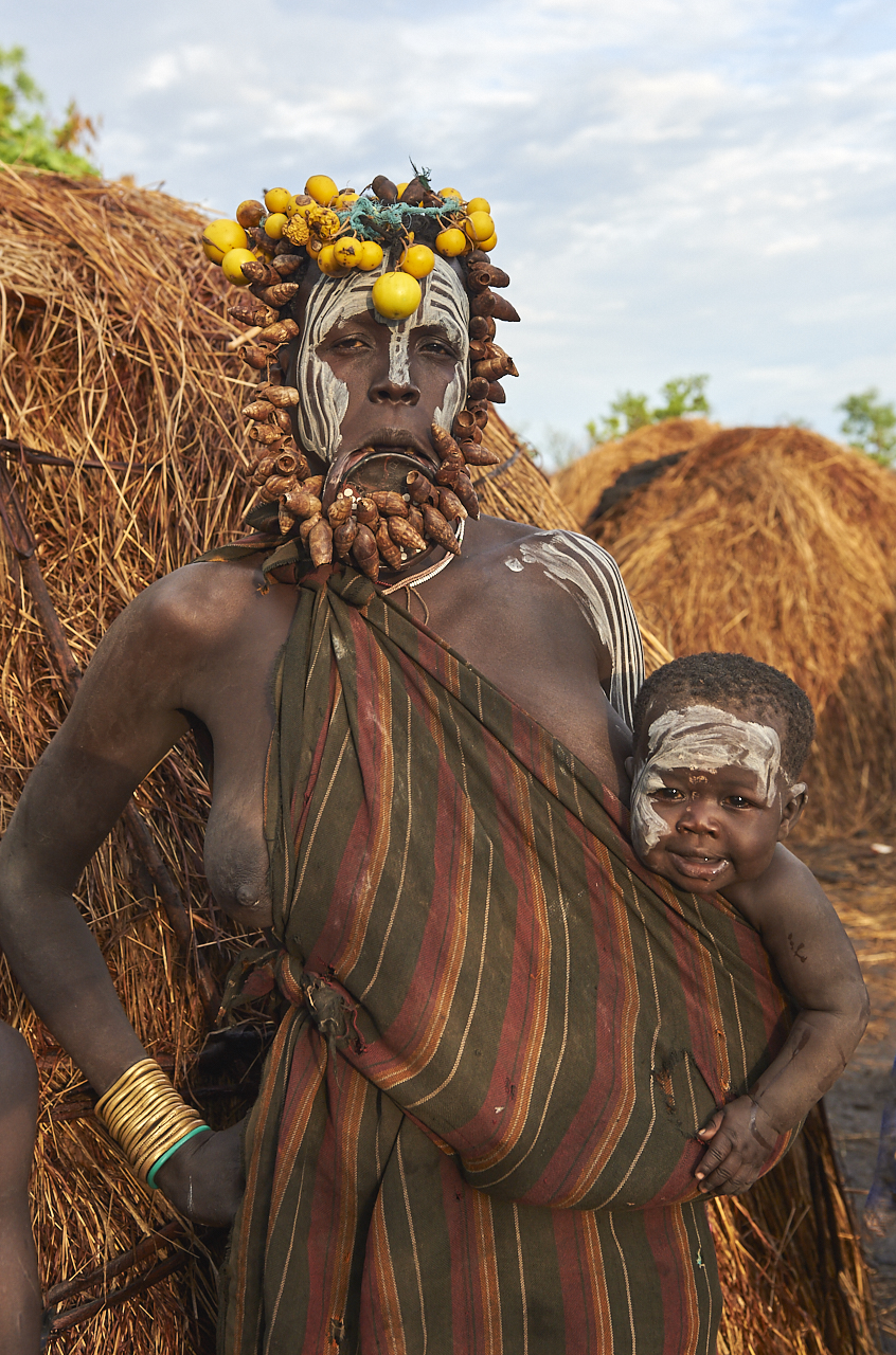 Mursi woman with baby