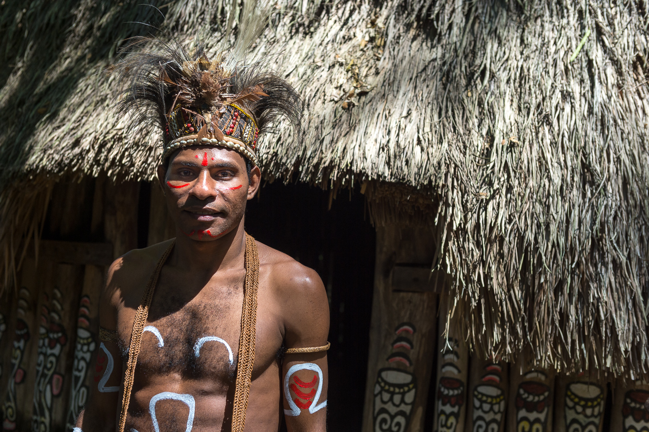 Papuan man from Dani tribe