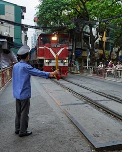 Railway officer, train street, Hanoi