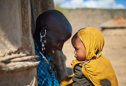 Maasai woman with baby, Monduli Juu