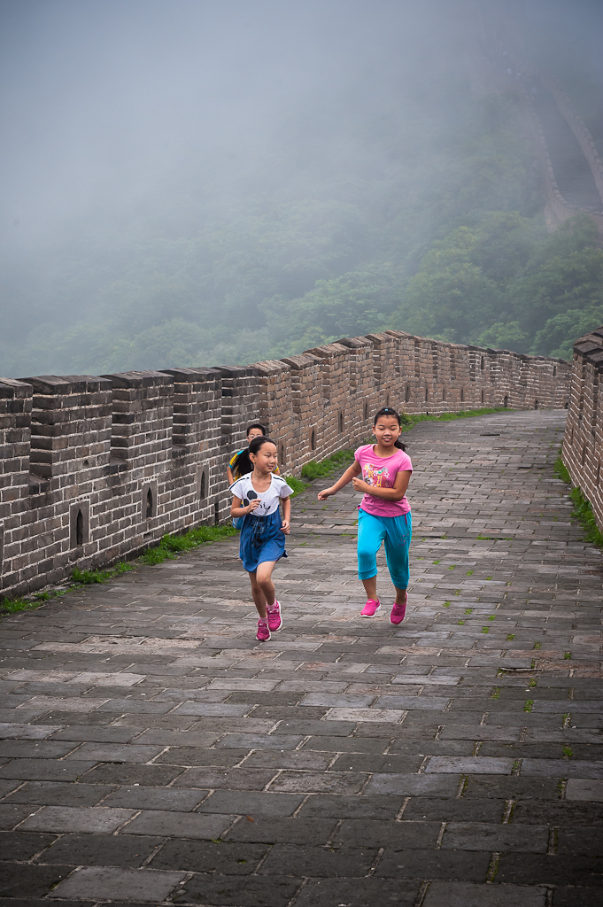 Children running - Great Wall, China