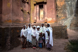 School girls outside Bete Giyorgis