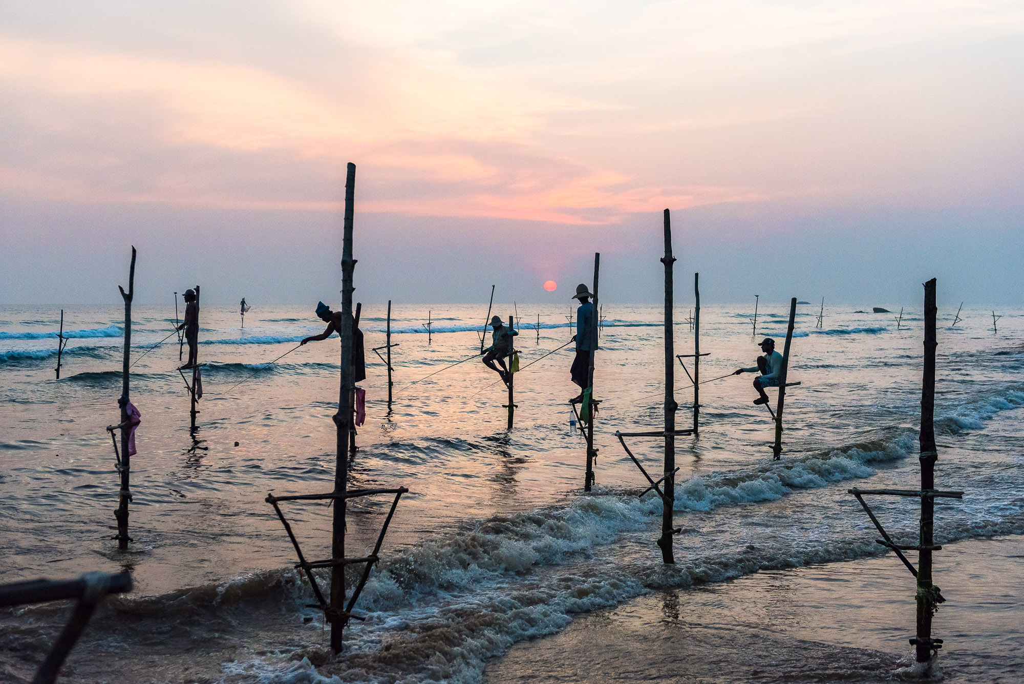 Stilt fishermen, Ahangama beach