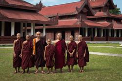 Monks visiting Mandalay Palace