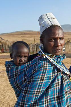 Masai woman and child, Ngorongoro