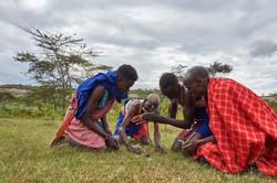 Masai making fire, Hell's gate