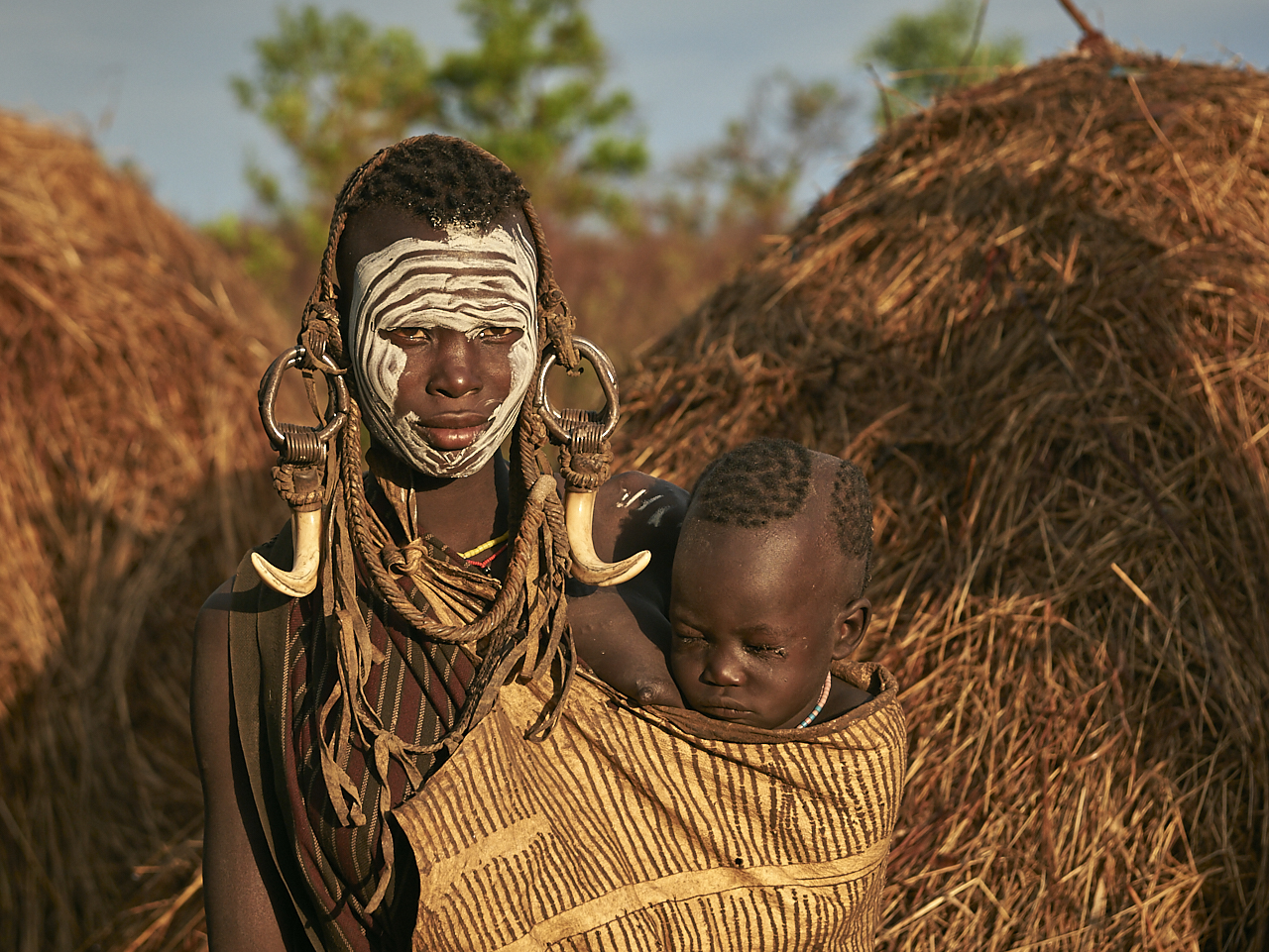 Mursi mother with baby