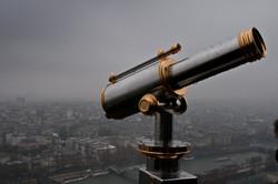 Paris by rain, top of Eiffel tower